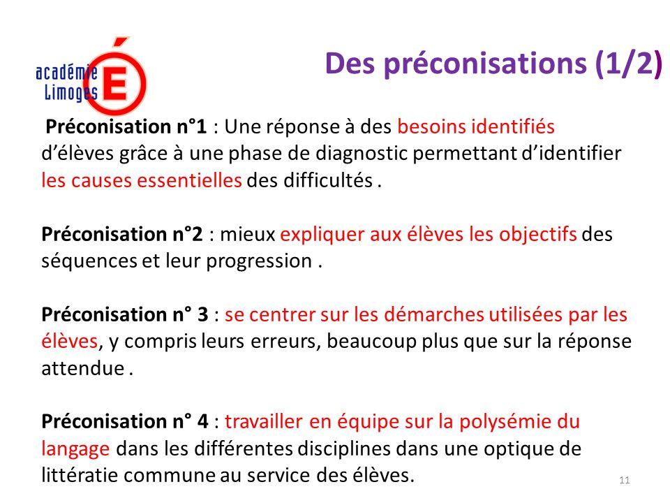 11 Des préconisations (1/2) Préconisation n°1 : Une réponse à des besoins identifiés délèves grâce à une phase de diagnostic permettant didentifier le