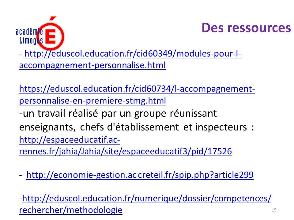 15 Des ressources vation - http://eduscol.education.fr/cid60349/modules-pour-l- accompagnement-personnalise.htmlhttp://eduscol.education.fr/cid60349/m