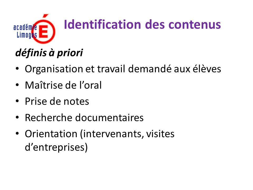 Identification des contenus définis à priori Organisation et travail demandé aux élèves Maîtrise de loral Prise de notes Recherche documentaires Orien