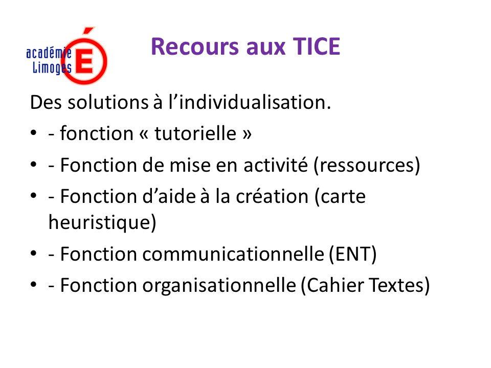 Recours aux TICE Des solutions à lindividualisation. - fonction « tutorielle » - Fonction de mise en activité (ressources) - Fonction daide à la créat