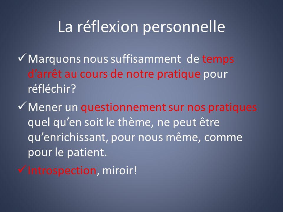 La réflexion personnelle Marquons nous suffisamment de temps darrêt au cours de notre pratique pour réfléchir.