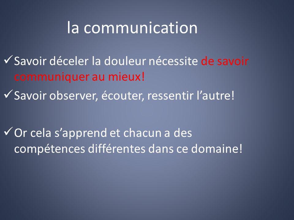 la communication Savoir déceler la douleur nécessite de savoir communiquer au mieux.