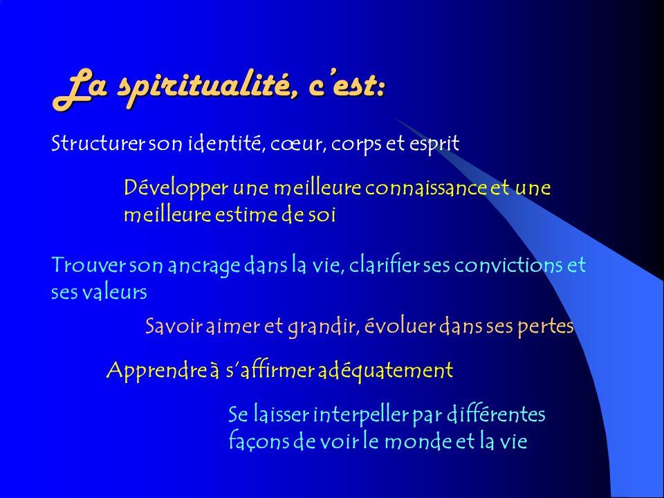 La spiritualité, cest: Structurer son identité, cœur, corps et esprit Développer une meilleure connaissance et une meilleure estime de soi Trouver son