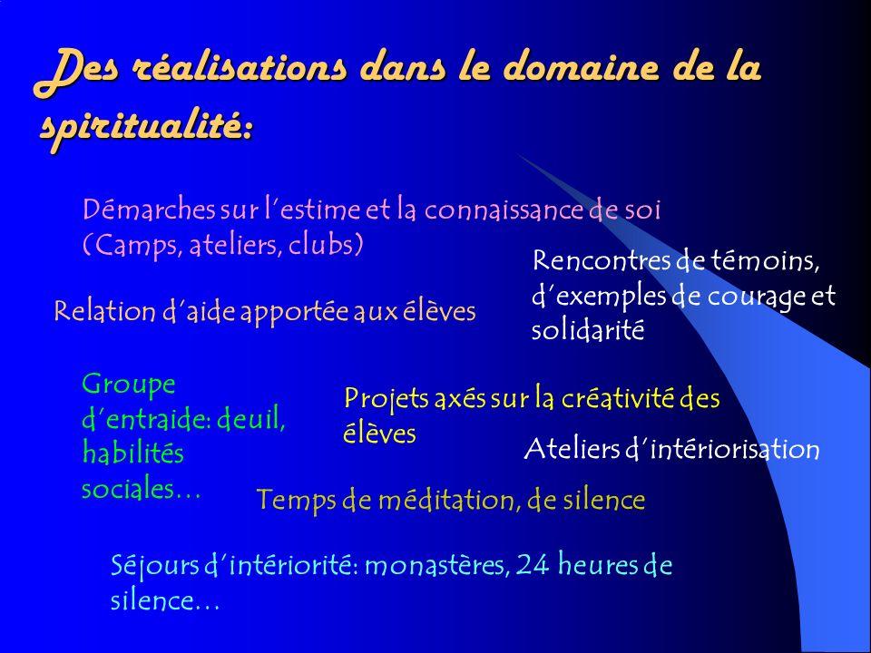 Des réalisations dans le domaine de la spiritualité: Démarches sur lestime et la connaissance de soi (Camps, ateliers, clubs) Relation daide apportée