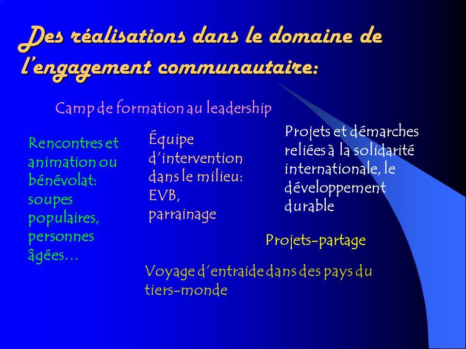 Des réalisations dans le domaine de lengagement communautaire: Camp de formation au leadership Équipe dintervention dans le milieu: EVB, parrainage Re