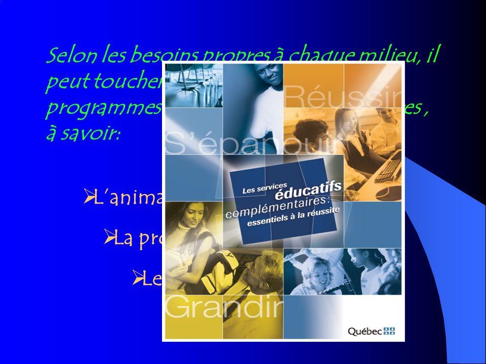 Lanimation de la vie scolaire La promotion et la prévention Le soutien aux apprentissages Laide à lélève Selon les besoins propres à chaque milieu, il