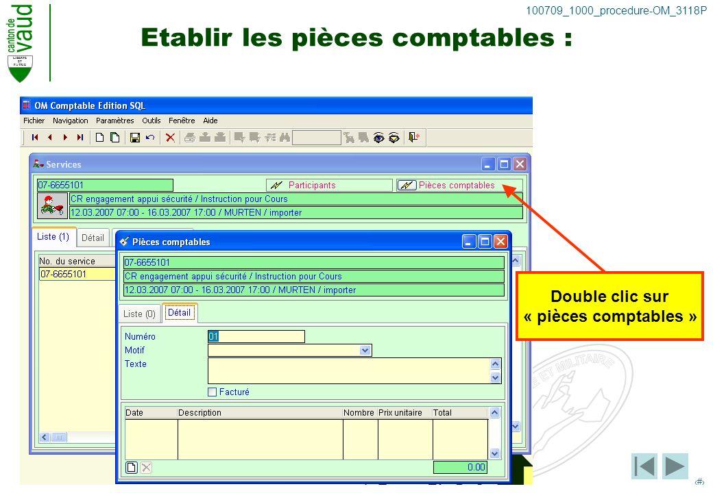 LIBERTE ET PATRIE 22 100709_1000_procedure-OM_3118P Etablir les pièces comptables : Double clic sur « pièces comptables »