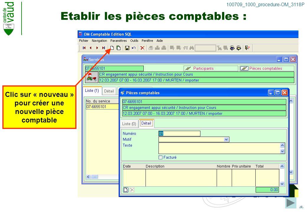 LIBERTE ET PATRIE 23 100709_1000_procedure-OM_3118P Etablir les pièces comptables : Clic sur « nouveau » pour créer une nouvelle pièce comptable