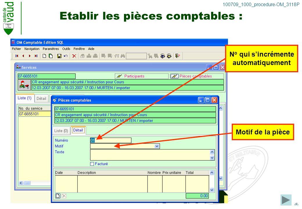 LIBERTE ET PATRIE 24 100709_1000_procedure-OM_3118P Etablir les pièces comptables : N o qui sincrémente automatiquement Motif de la pièce