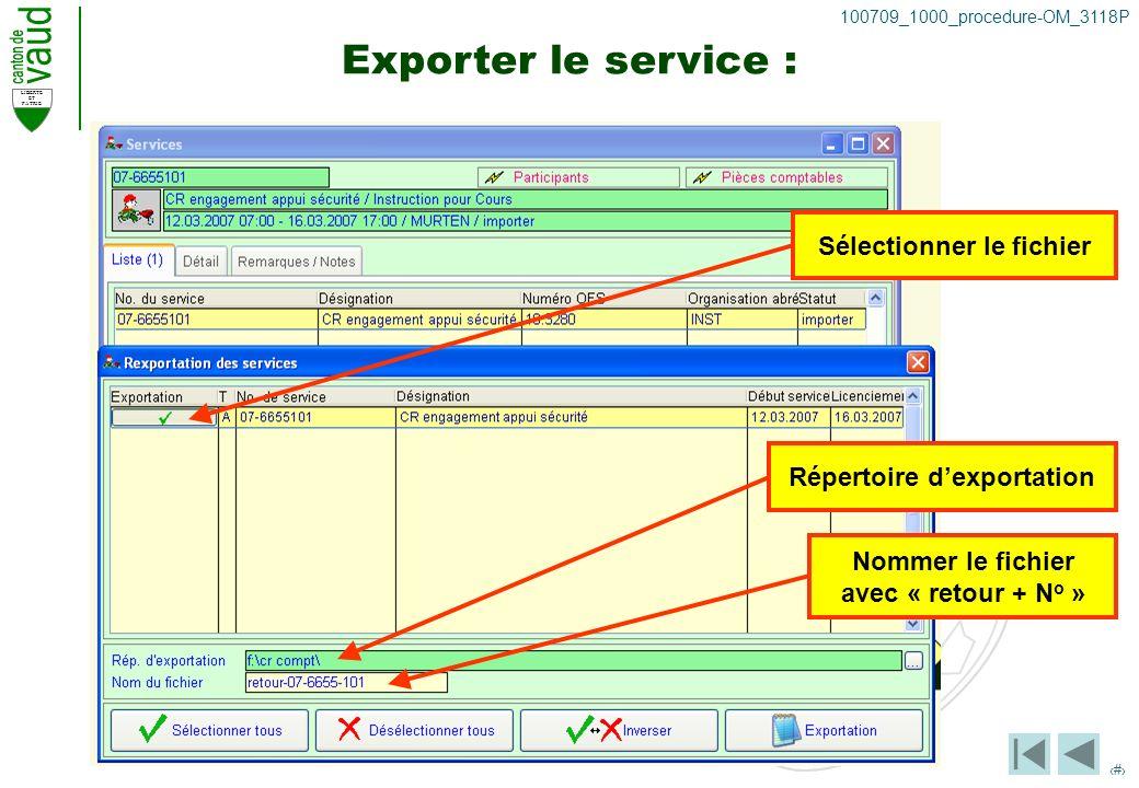 LIBERTE ET PATRIE 37 100709_1000_procedure-OM_3118P Exporter le service : Sélectionner le fichier Répertoire dexportation Nommer le fichier avec « retour + N o »