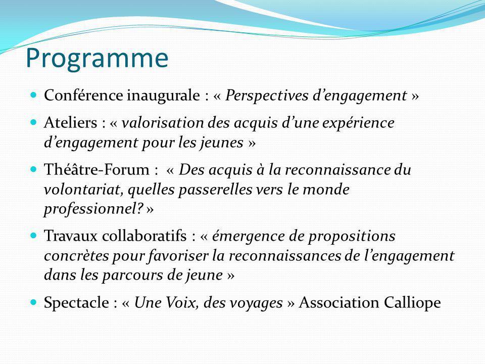 Programme Conférence inaugurale : « Perspectives dengagement » Ateliers : « valorisation des acquis dune expérience dengagement pour les jeunes » Théâ