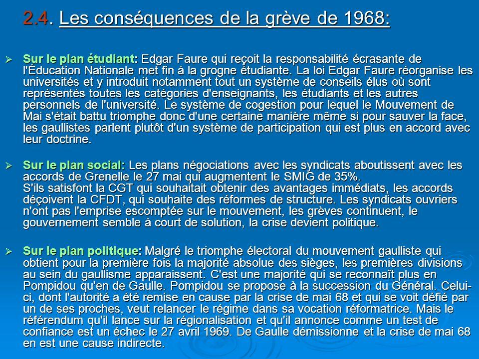 2.4. Les conséquences de la grève de 1968: 2.4. Les conséquences de la grève de 1968: Sur le plan étudiant: Edgar Faure qui reçoit la responsabilité é