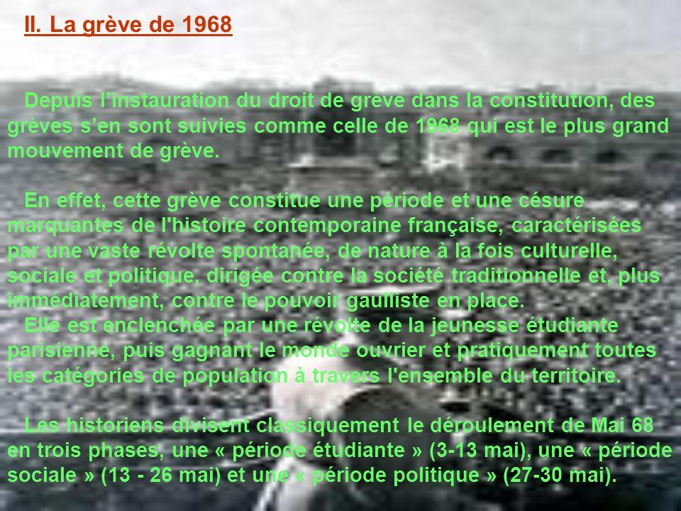 II. La grève de 1968 Depuis linstauration du droit de grève dans la constitution, des grèves sen sont suivies comme celle de 1968 qui est le plus gran