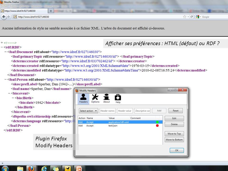 Afficher ses préférences : HTML (défaut) ou RDF Plugin Firefox Modify Headers