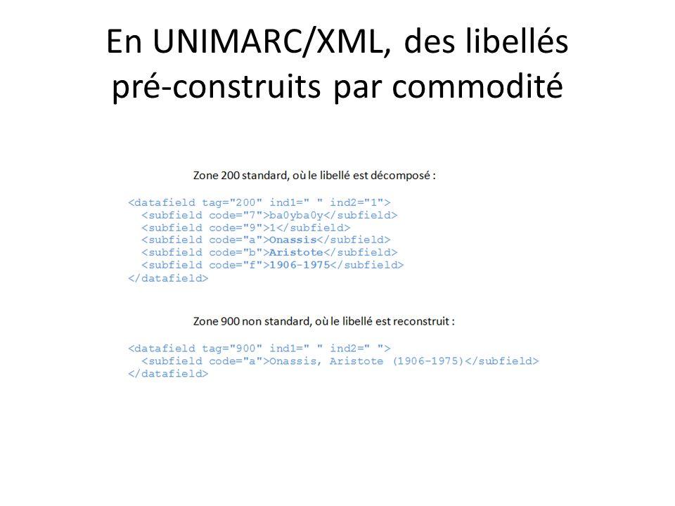 En UNIMARC/XML, des libellés pré-construits par commodité