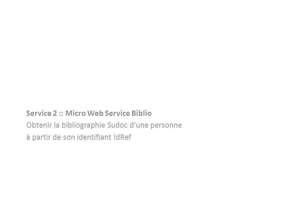 Service 2 :: Micro Web Service Biblio Obtenir la bibliographie Sudoc dune personne à partir de son identifiant IdRef