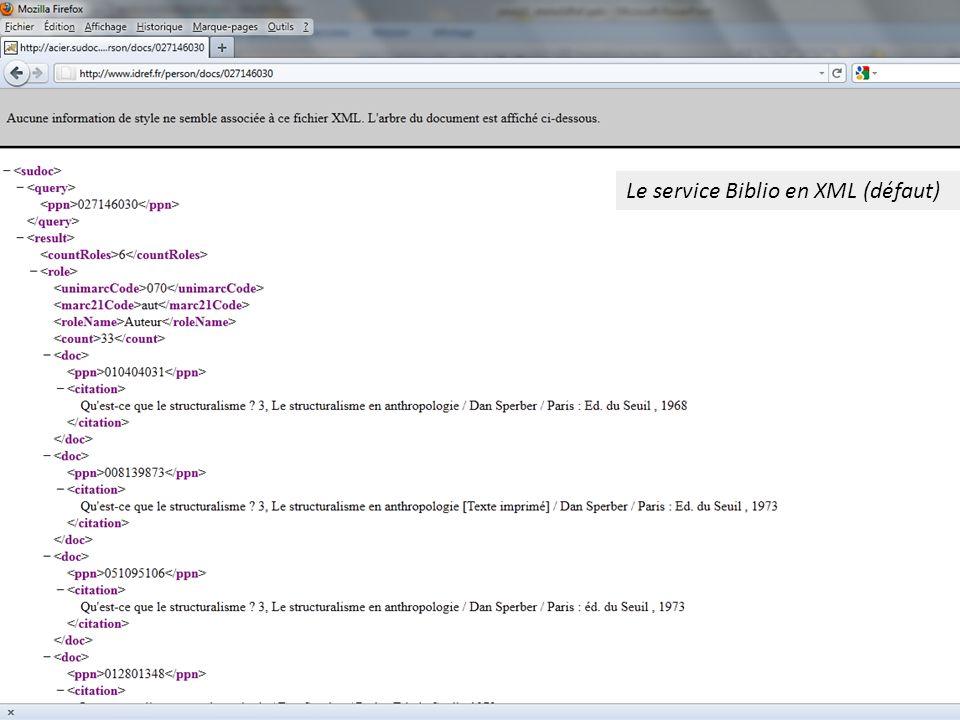 Le service Biblio en XML (défaut)