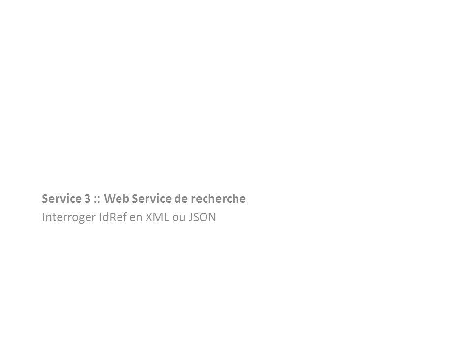 Service 3 :: Web Service de recherche Interroger IdRef en XML ou JSON