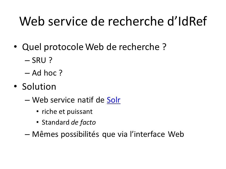 Web service de recherche dIdRef Quel protocole Web de recherche .