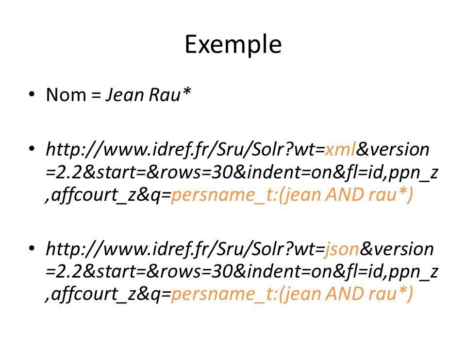 Exemple Nom = Jean Rau* http://www.idref.fr/Sru/Solr wt=xml&version =2.2&start=&rows=30&indent=on&fl=id,ppn_z,affcourt_z&q=persname_t:(jean AND rau*) http://www.idref.fr/Sru/Solr wt=json&version =2.2&start=&rows=30&indent=on&fl=id,ppn_z,affcourt_z&q=persname_t:(jean AND rau*)