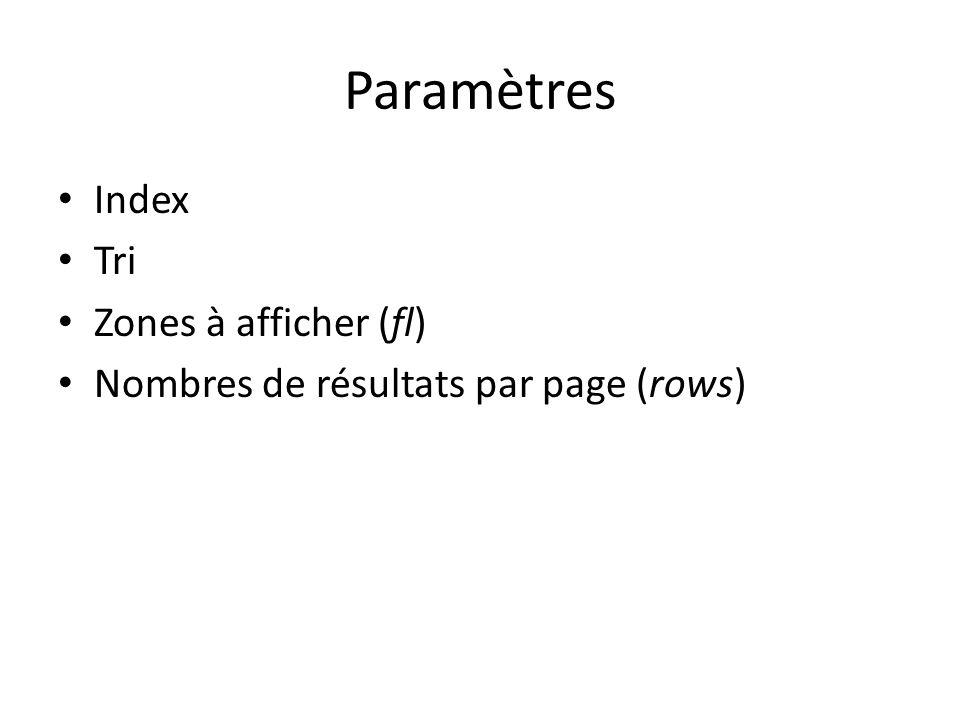 Paramètres Index Tri Zones à afficher (fl) Nombres de résultats par page (rows)