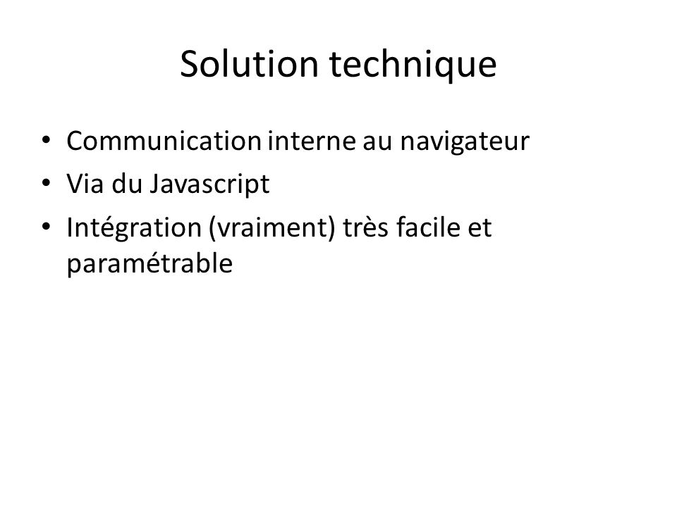 Solution technique Communication interne au navigateur Via du Javascript Intégration (vraiment) très facile et paramétrable