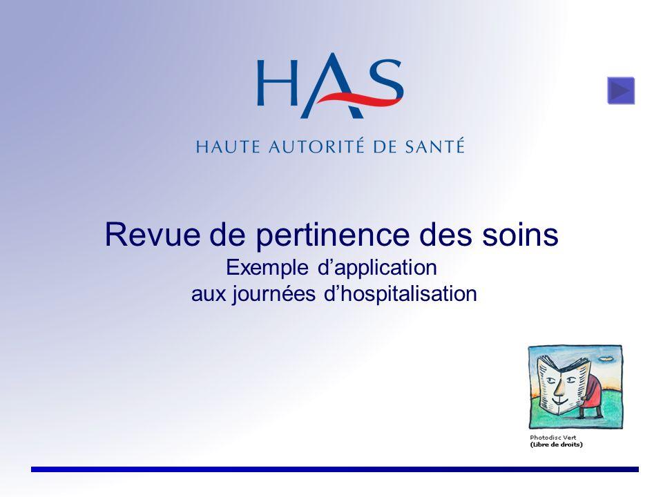 Revue de pertinence des soins Exemple dapplication aux journées dhospitalisation