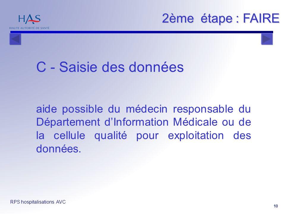 RPS hospitalisations AVC 10 2ème étape : FAIRE C - Saisie des données aide possible du médecin responsable du Département dInformation Médicale ou de