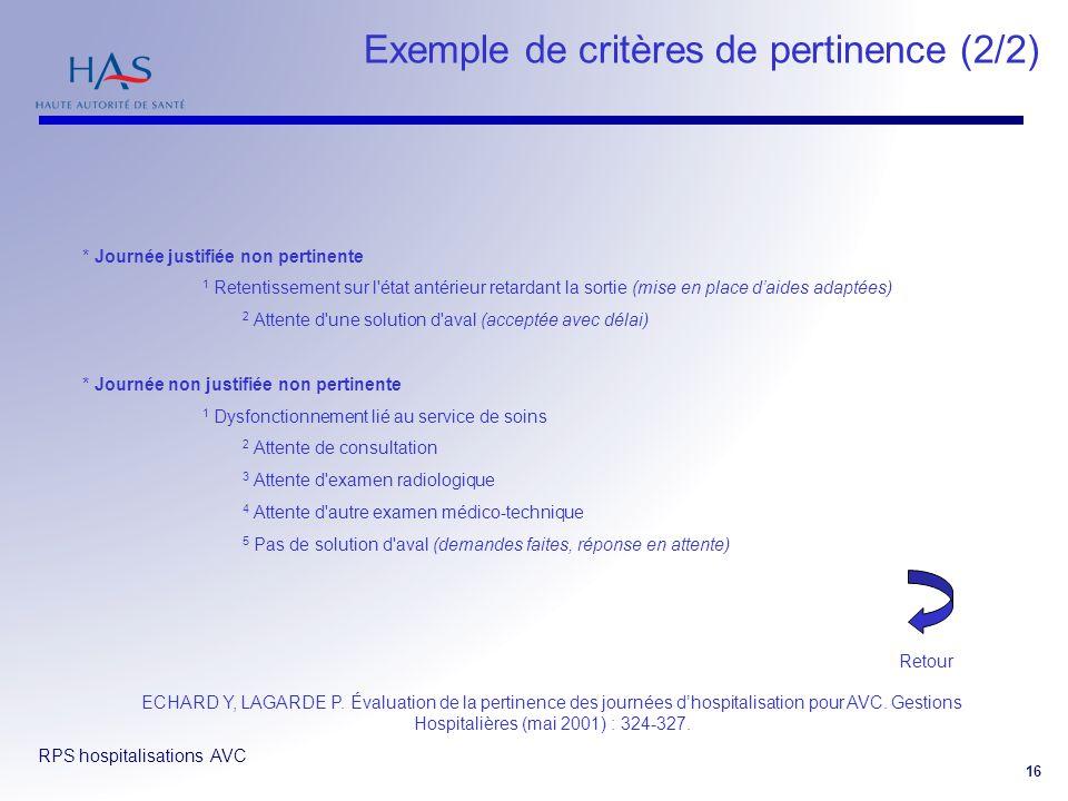 RPS hospitalisations AVC 16 Exemple de critères de pertinence (2/2) ECHARD Y, LAGARDE P. Évaluation de la pertinence des journées dhospitalisation pou