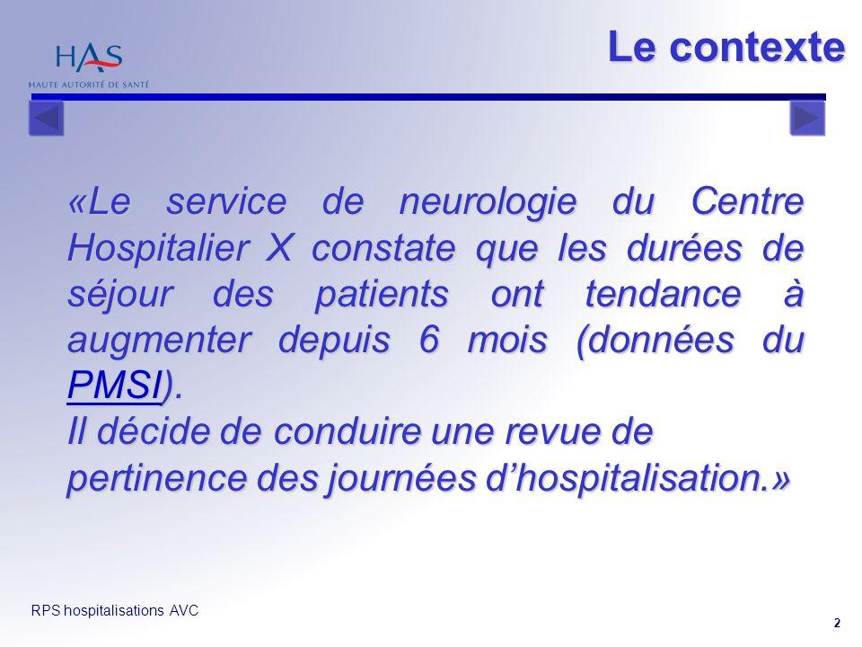 RPS hospitalisations AVC 2 «Le service de neurologie du Centre Hospitalier X constate que les durées de séjour des patients ont tendance à augmenter d