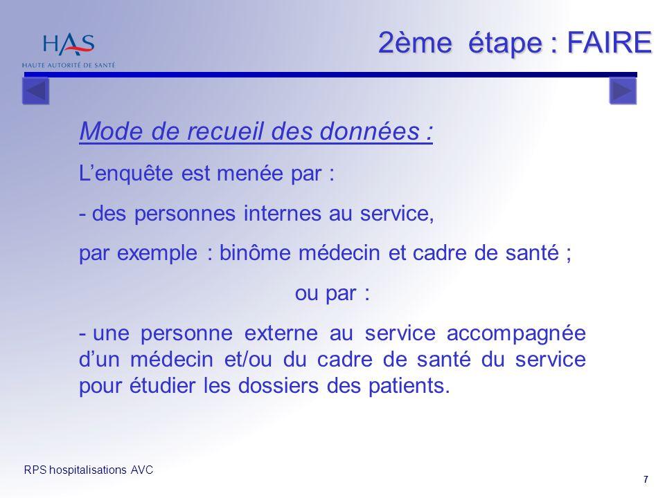 RPS hospitalisations AVC 7 Mode de recueil des données : Lenquête est menée par : - des personnes internes au service, par exemple : binôme médecin et