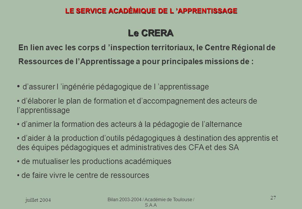 juillet 2004 Bilan 2003-2004 / Académie de Toulouse / S.A.A 27 LE SERVICE ACADÉMIQUE DE L APPRENTISSAGE Le CRERA En lien avec les corps d inspection t