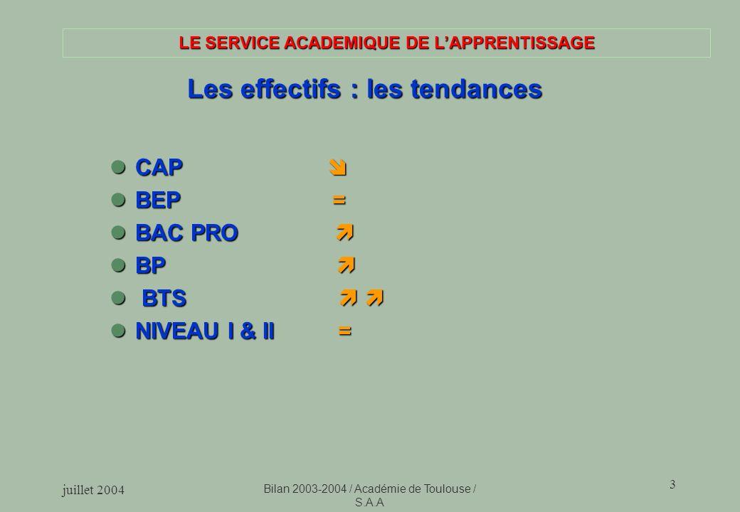 juillet 2004 Bilan 2003-2004 / Académie de Toulouse / S.A.A 3 LE SERVICE ACADEMIQUE DE LAPPRENTISSAGE Les effectifs : les tendances Les effectifs : les tendances CAP CAP BEP = BEP = BAC PRO BAC PRO BP BP BTS BTS NIVEAU I & II = NIVEAU I & II =