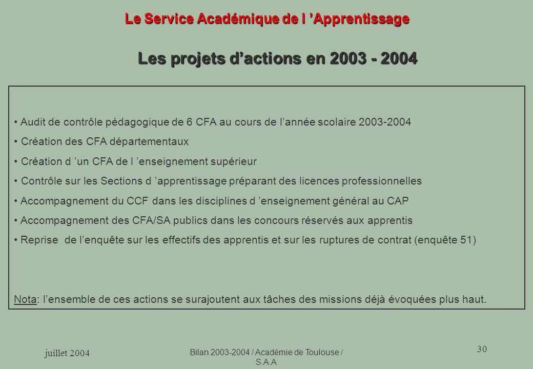 juillet 2004 Bilan 2003-2004 / Académie de Toulouse / S.A.A 30 Le Service Académique de l Apprentissage Les projets dactions en 2003 - 2004 Audit de c