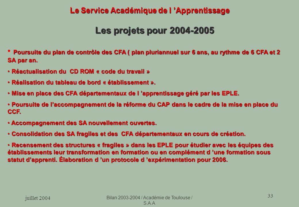 juillet 2004 Bilan 2003-2004 / Académie de Toulouse / S.A.A 33 Le Service Académique de l Apprentissage Les projets pour 2004-2005 Poursuite du plan de contrôle des CFA ( plan pluriannuel sur 6 ans, au rythme de 6 CFA et 2 SA par an.