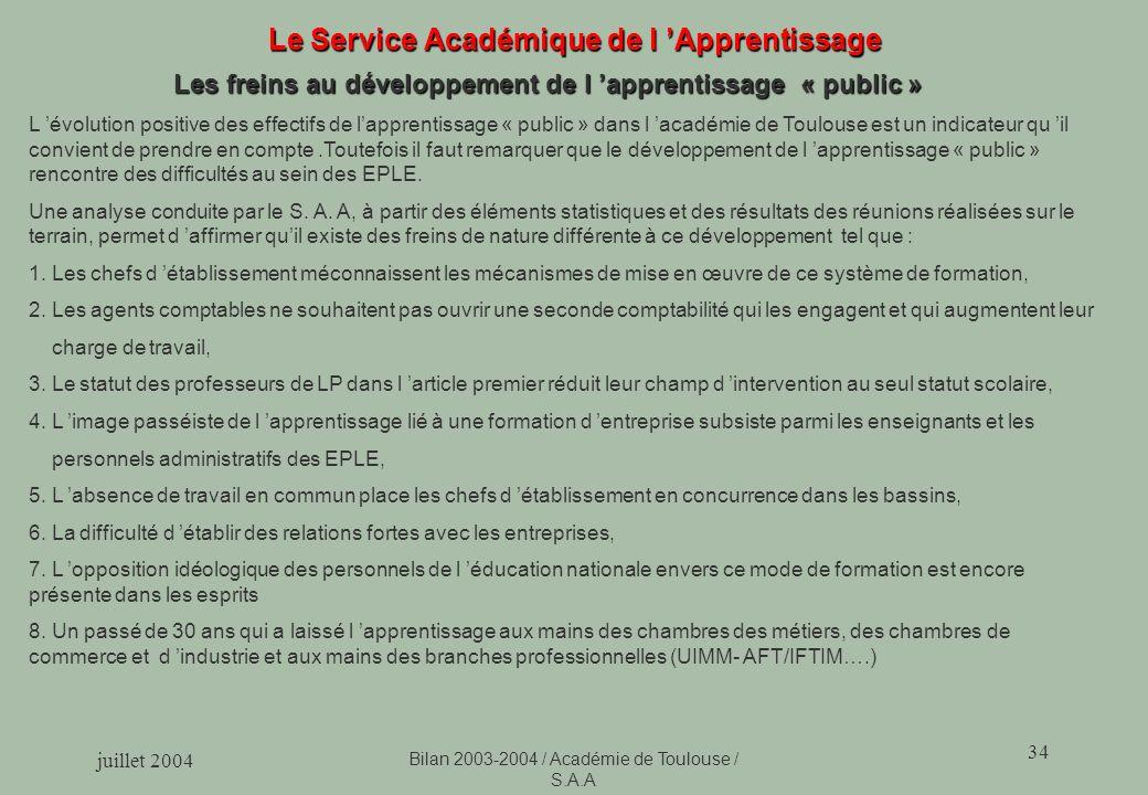 juillet 2004 Bilan 2003-2004 / Académie de Toulouse / S.A.A 34 Le Service Académique de l Apprentissage Les freins au développement de l apprentissage « public » L évolution positive des effectifs de lapprentissage « public » dans l académie de Toulouse est un indicateur qu il convient de prendre en compte.Toutefois il faut remarquer que le développement de l apprentissage « public » rencontre des difficultés au sein des EPLE.