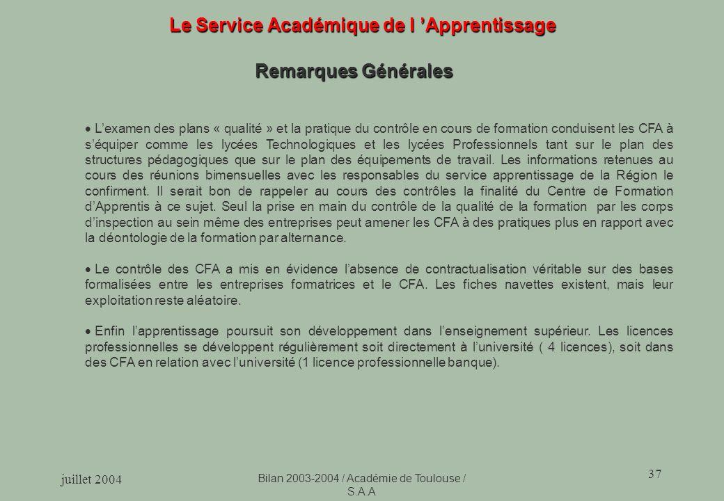 juillet 2004 Bilan 2003-2004 / Académie de Toulouse / S.A.A 37 Le Service Académique de l Apprentissage Remarques Générales Lexamen des plans « qualit