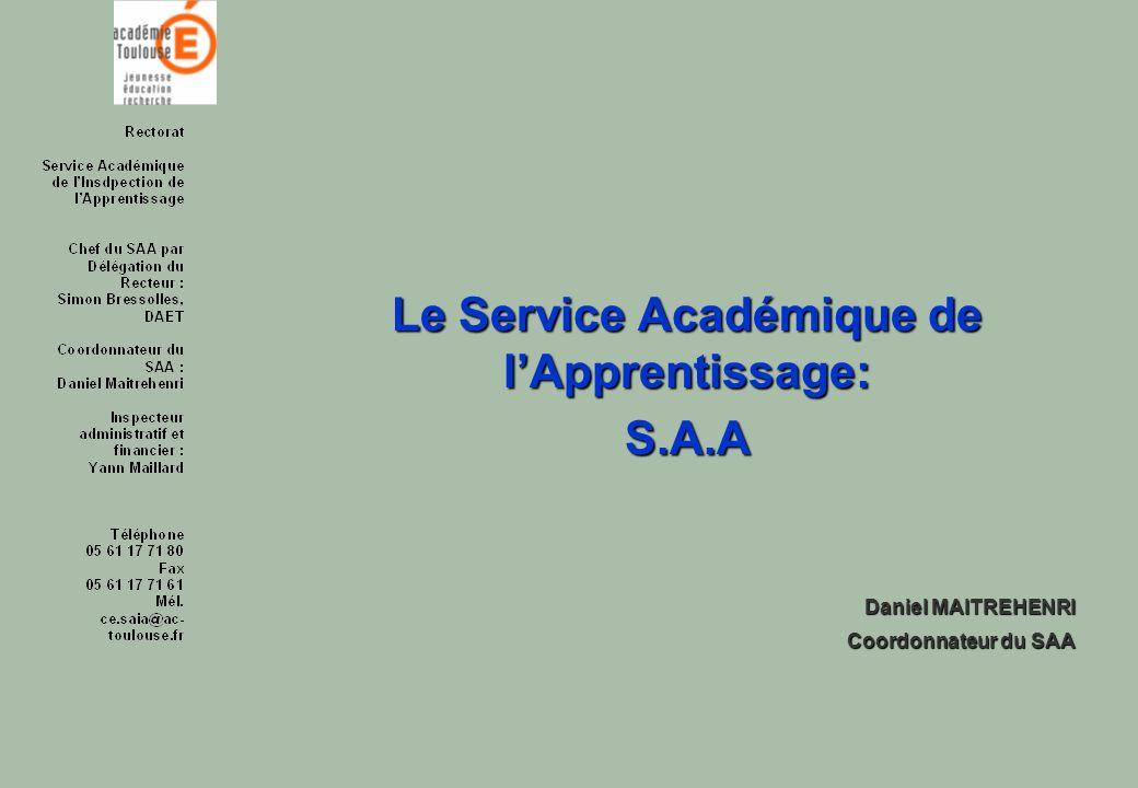 Le Service Académique de lApprentissage: S.A.A Daniel MAITREHENRI Coordonnateur du SAA Coordonnateur du SAA