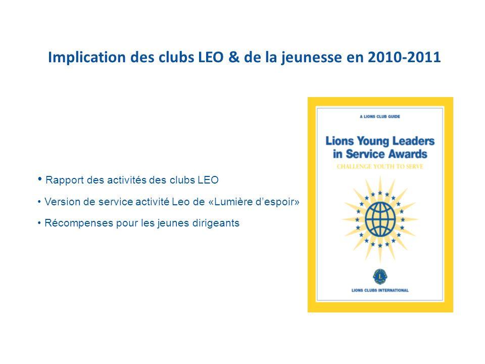 Implication des clubs LEO & de la jeunesse en 2010-2011 Rapport des activités des clubs LEO Version de service activité Leo de «Lumière despoir» Récompenses pour les jeunes dirigeants
