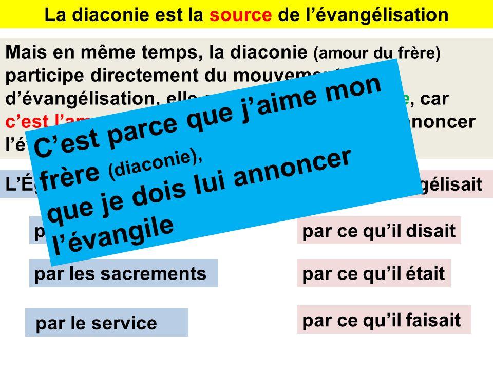 La diaconie est la source de lévangélisation Mais en même temps, la diaconie (amour du frère) participe directement du mouvement dévangélisation, elle