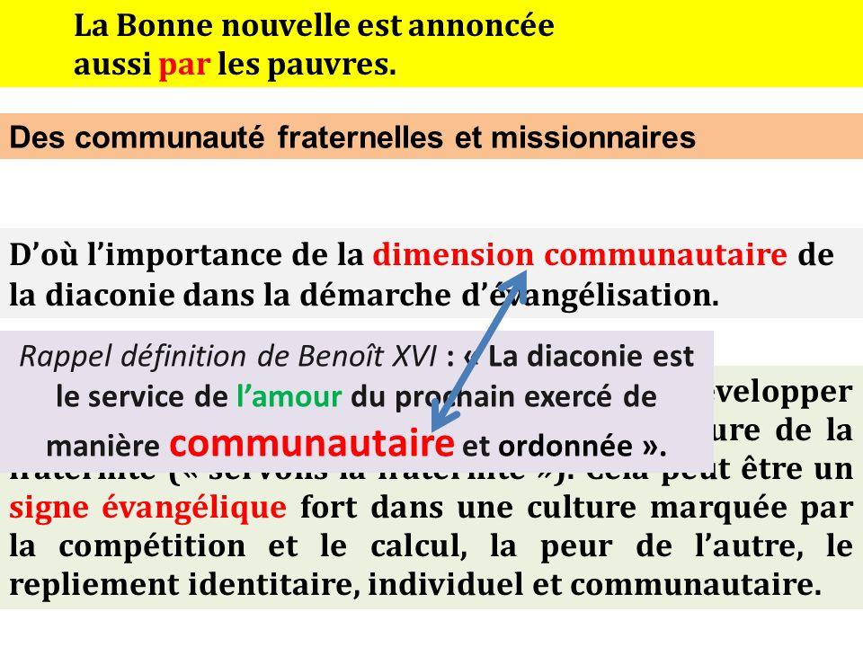 Diaconia (et le diocèse dAgen) cherchent à développer dans les communautés chrétiennes une culture de la fraternité (« servons la fraternité »).