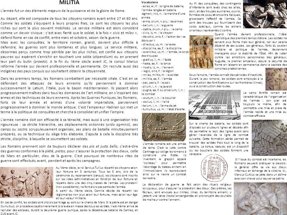 MILITIA Larmée fut un des éléments majeurs de la puissance et de la gloire de Rome.