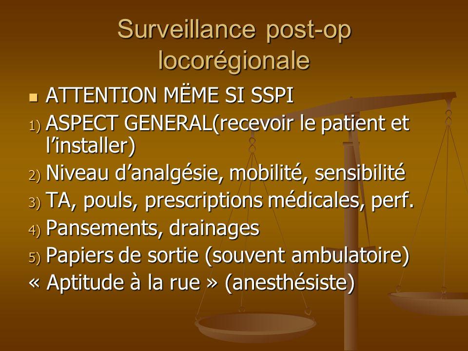 Surveillance post-op locorégionale ATTENTION MËME SI SSPI ATTENTION MËME SI SSPI 1) ASPECT GENERAL(recevoir le patient et linstaller) 2) Niveau danalgésie, mobilité, sensibilité 3) TA, pouls, prescriptions médicales, perf.