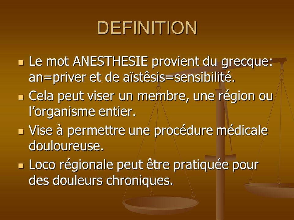 DEFINITION Le mot ANESTHESIE provient du grecque: an=priver et de aïstêsis=sensibilité.