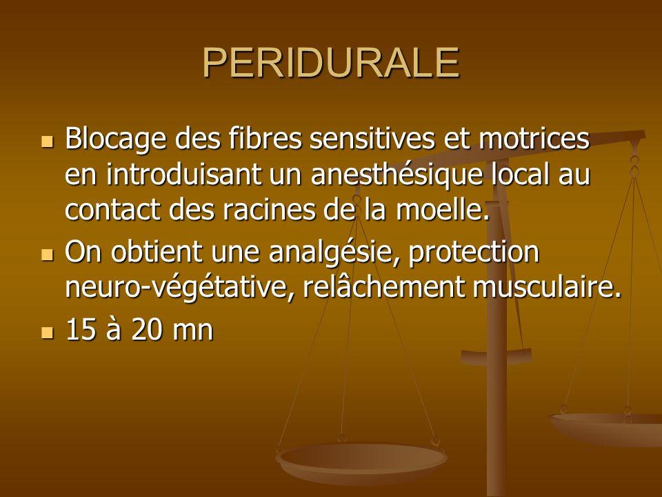 PERIDURALE Blocage des fibres sensitives et motrices en introduisant un anesthésique local au contact des racines de la moelle.