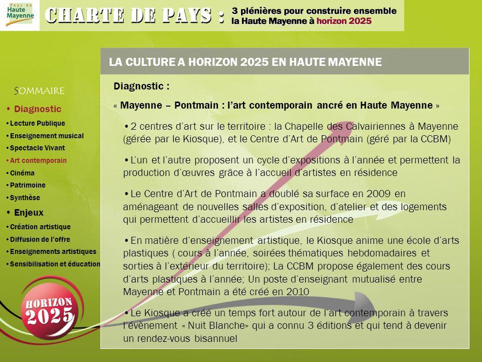 LA CULTURE A HORIZON 2025 EN HAUTE MAYENNE 2 centres dart sur le territoire : la Chapelle des Calvairiennes à Mayenne (gérée par le Kiosque), et le Centre dArt de Pontmain (géré par la CCBM) Lun et lautre proposent un cycle dexpositions à lannée et permettent la production dœuvres grâce à laccueil dartistes en résidence Le Centre dArt de Pontmain a doublé sa surface en 2009 en aménageant de nouvelles salles dexposition, datelier et des logements qui permettent daccueillir les artistes en résidence En matière denseignement artistique, le Kiosque anime une école darts plastiques ( cours à lannée, soirées thématiques hebdomadaires et sorties à lextérieur du territoire); La CCBM propose également des cours darts plastiques à lannée; Un poste denseignant mutualisé entre Mayenne et Pontmain a été créé en 2010 Le Kiosque a créé un temps fort autour de lart contemporain à travers lévènement « Nuit Blanche» qui a connu 3 éditions et qui tend à devenir un rendez-vous bisannuel S OMMAIRE Diagnostic : « Mayenne – Pontmain : lart contemporain ancré en Haute Mayenne » Diagnostic Lecture Publique Enseignement musical Spectacle Vivant Art contemporain Cinéma Patrimoine Synthèse Enjeux Création artistique Diffusion de loffre Enseignements artistiques Sensibilisation et éducation