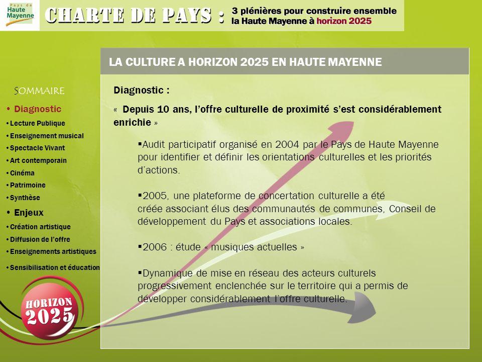 LA CULTURE A HORIZON 2025 EN HAUTE MAYENNE Audit participatif organisé en 2004 par le Pays de Haute Mayenne pour identifier et définir les orientations culturelles et les priorités dactions.