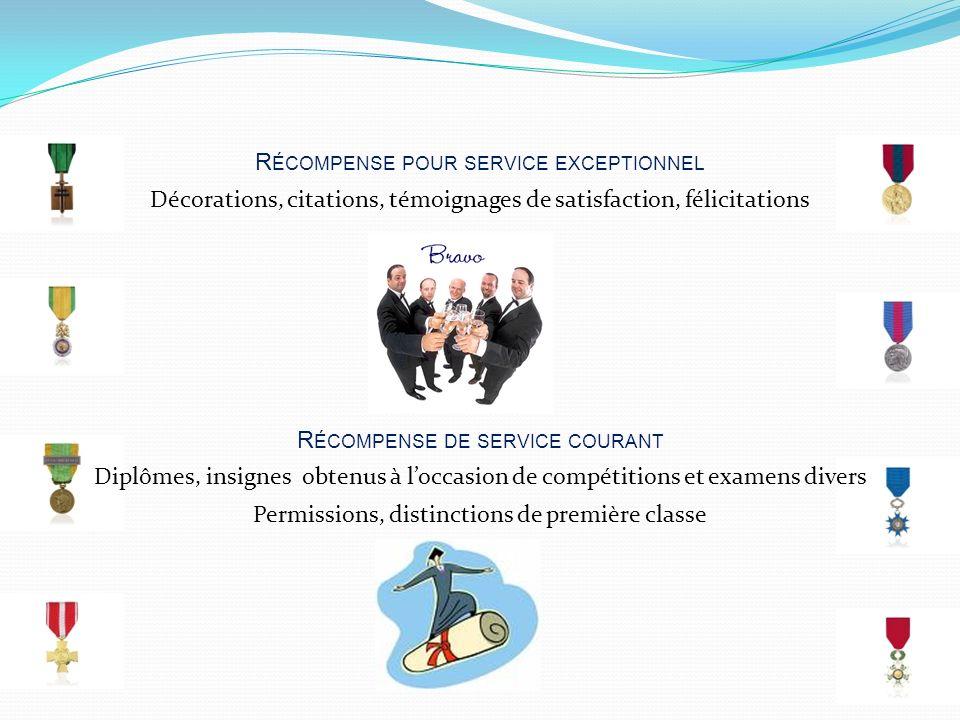 R ÉCOMPENSE POUR SERVICE EXCEPTIONNEL R ÉCOMPENSE DE SERVICE COURANT Décorations, citations, témoignages de satisfaction, félicitations Diplômes, insi