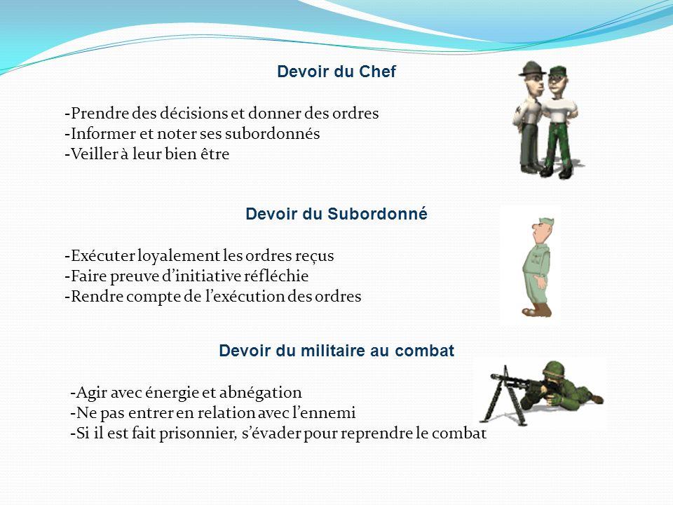 Devoir du Chef -Prendre des décisions et donner des ordres -Informer et noter ses subordonnés -Veiller à leur bien être Devoir du Subordonné -Exécuter