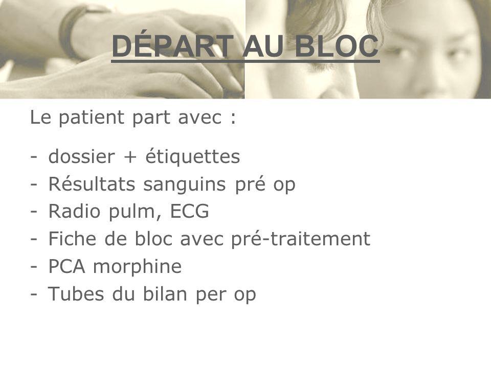 DÉPART AU BLOC Le patient part avec : -dossier + étiquettes -Résultats sanguins pré op -Radio pulm, ECG -Fiche de bloc avec pré-traitement -PCA morphi